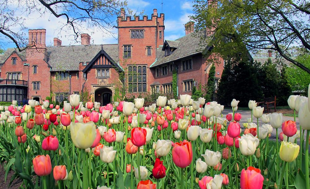 stan hywet manor house with tulips in the foreground