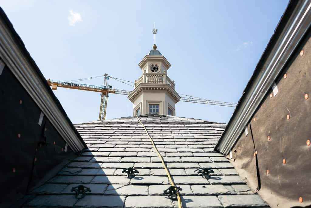 city ridge in washington dc with new slates to replace broken slates on roof