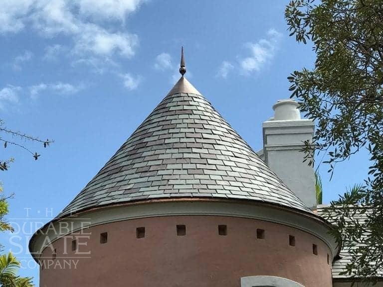 Coral Gables is a Vermont 5 color blend on a turret in Coral Gables, FL. This project was 88 squares installed to withstand 155 MPH winds, with some pitches as low as 1/12.