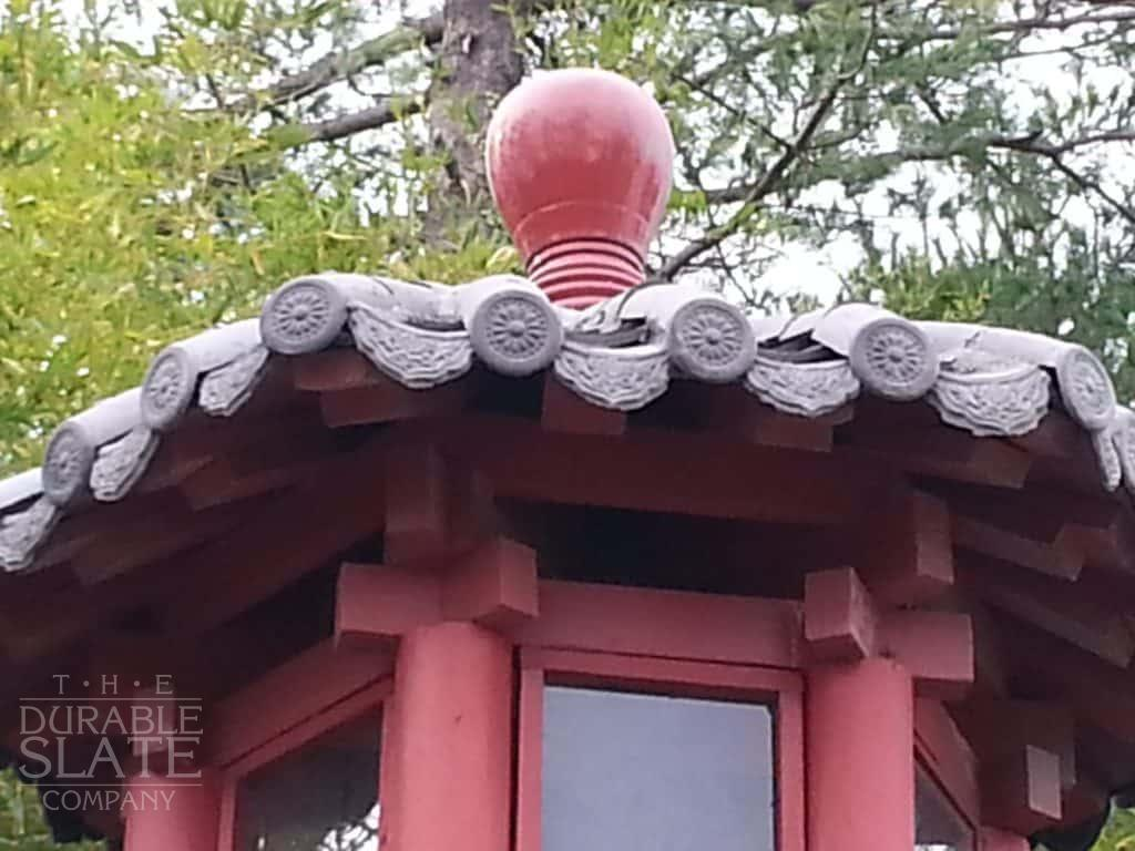 chinese pagoda with clay-roofing tiles, repaired in new jersey