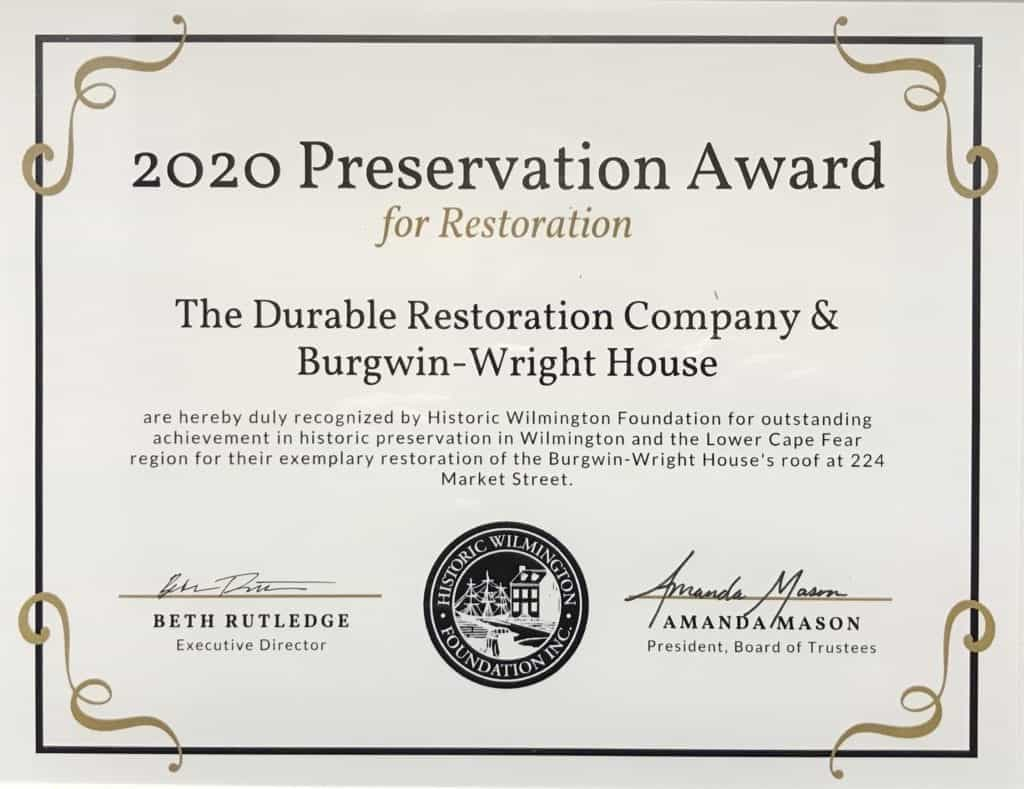 front picture of HWF preservation award 2020