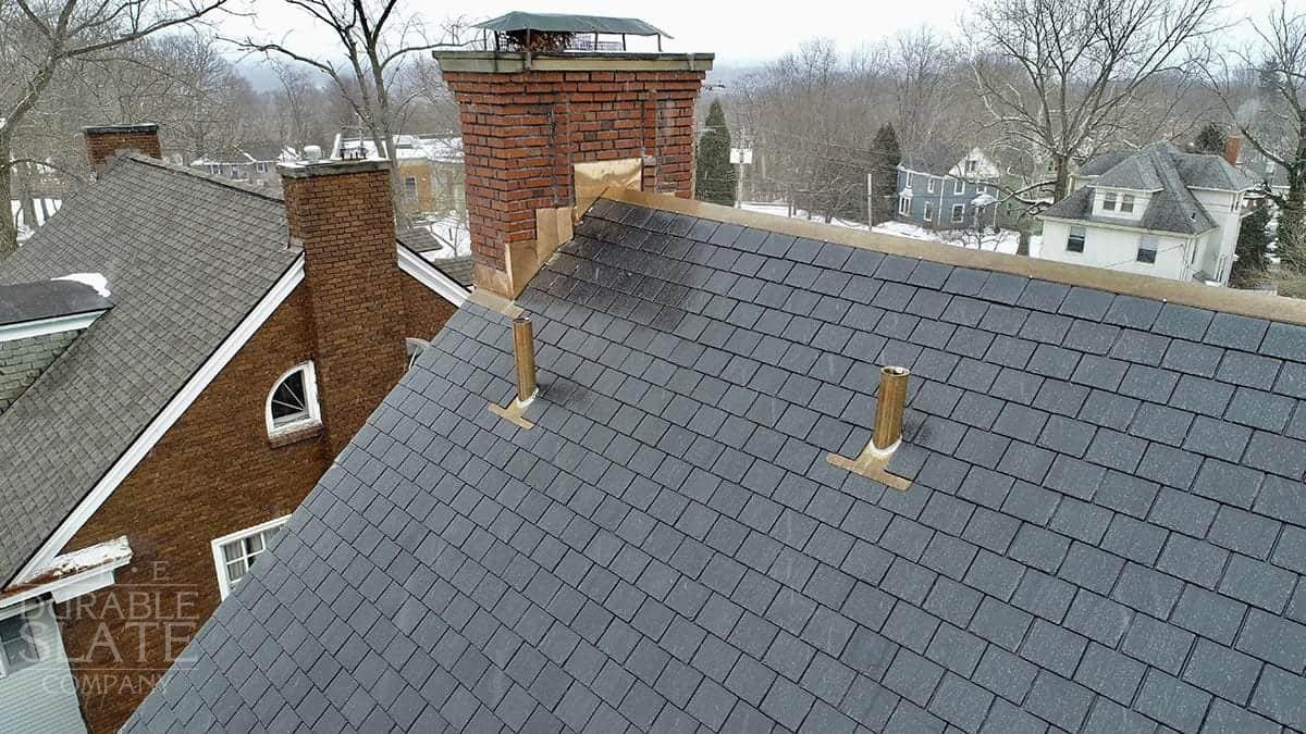 slate roofing, copper vent pipes, and copper flashing work in akron ohio