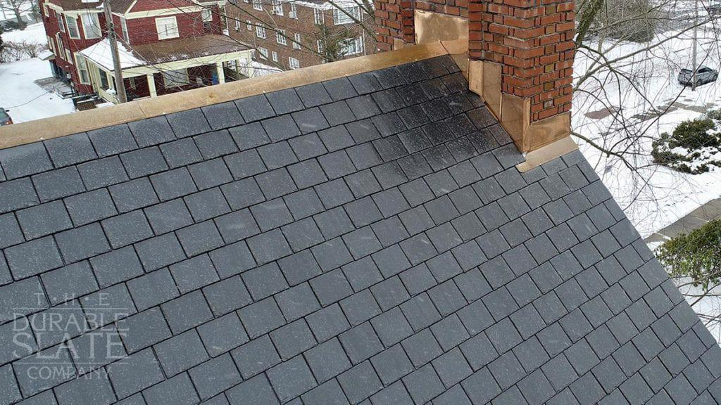 slate roof and copper flashing work on residential home in akron, ohio