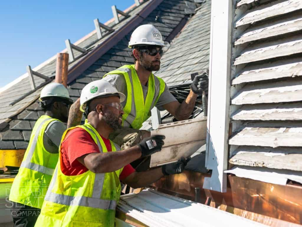 historic roofers fixing cedarville operate house slate roof and copper flashing