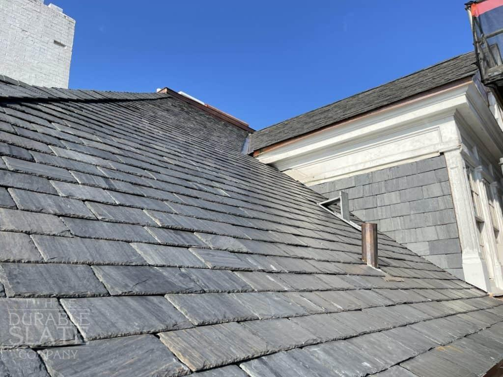 annaburg manor's new slate roof and copper gutters