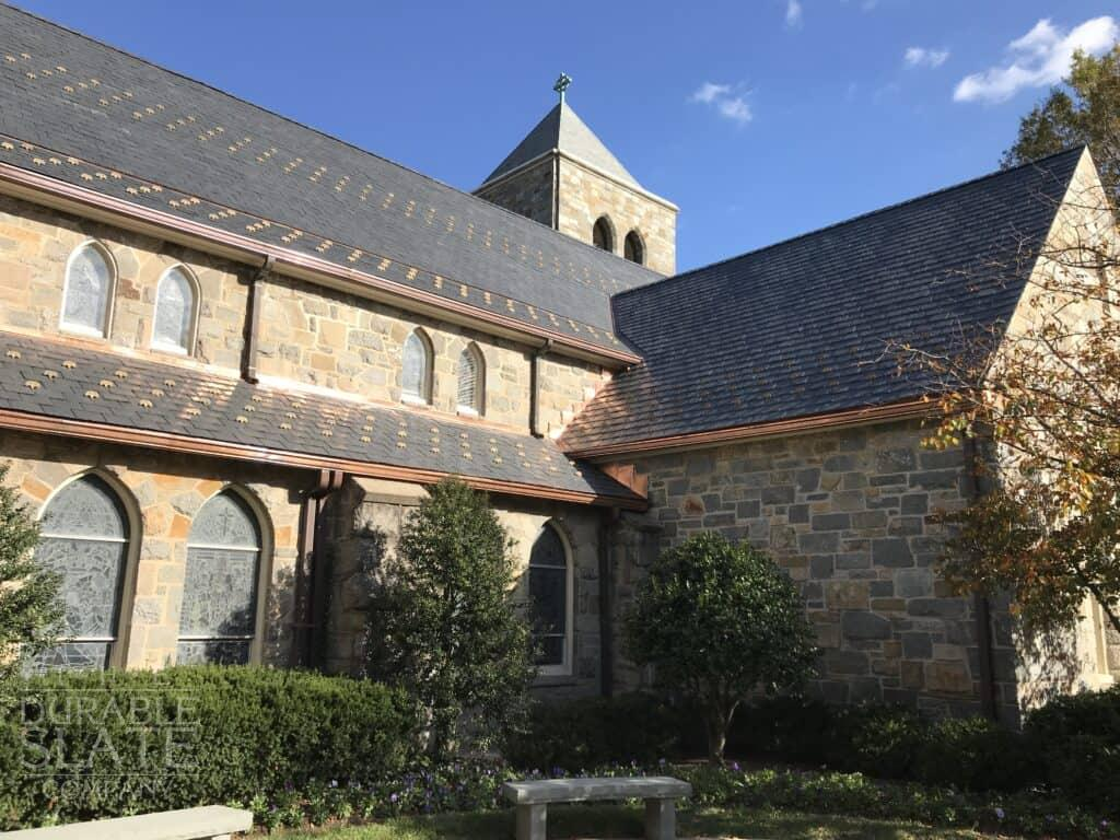 all saints church in chevy chase maryland with a new slate roof and repaired copper gutters
